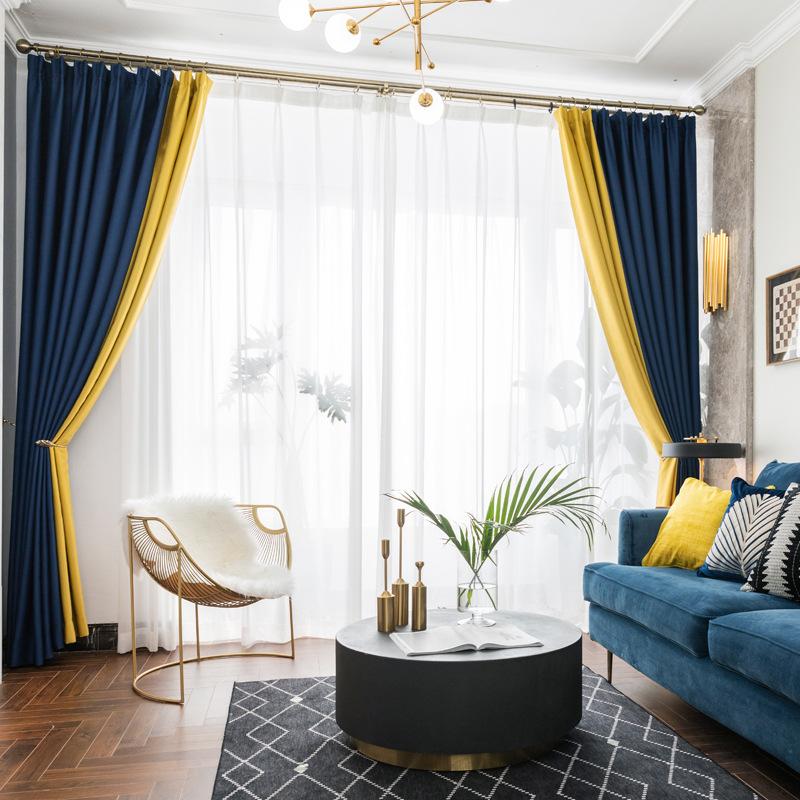 MAIBU Vải rèm cửa Rèm vải đầy đủ Bắc Âu rắn màu cách nhiệt chống nắng phòng khách phòng ngủ khách sạ