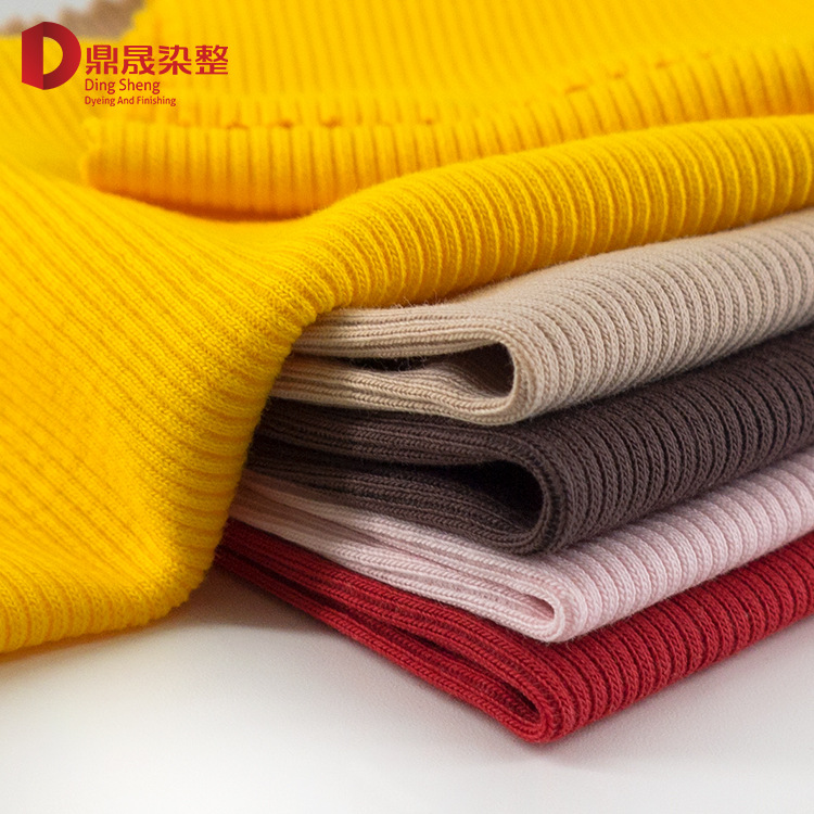 DINGSHENG Vải Rib bo 2x2 dày vải sườn sườn 32s sợi đàn hồi 200g vải sườn vải quần áo vải