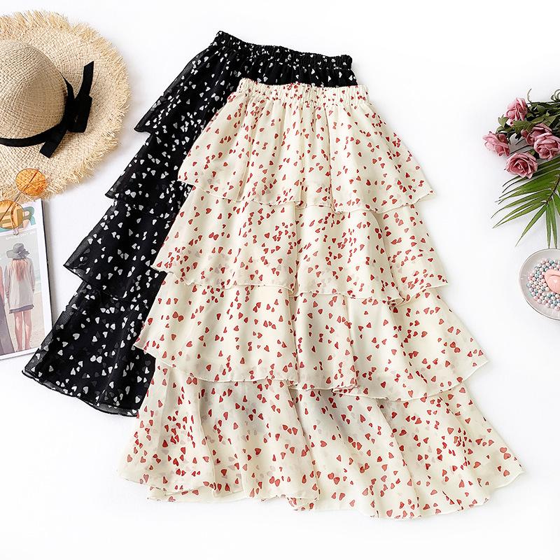 Englard Váy Mùa hè 2019 mới nhỏ váy voan nhiều lớp tươi tắn đã mỏng trong váy váy hoa dài