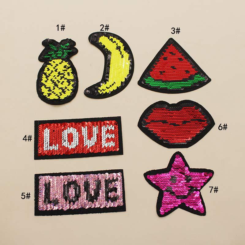 CHANGJIN Vảy kim tuyến Nhà máy trực tiếp trái cây lật hạt dán tình yêu hai mặt có thể lật vải sequin