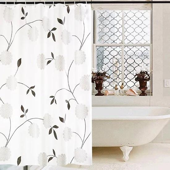 Rèm Phòng Tắm / Rèm Cửa Sổ Trằng Họa Tiết Hoa Cúc Đen 180cm X 180cm Loại 1