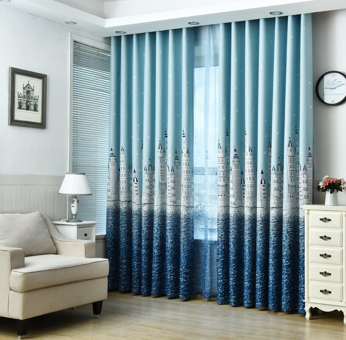 ROUMAO Vải rèm cửa Lâu đài nước Địa Trung Hải in rèm dày thành rèm vải phòng ngủ phòng khách học trẻ