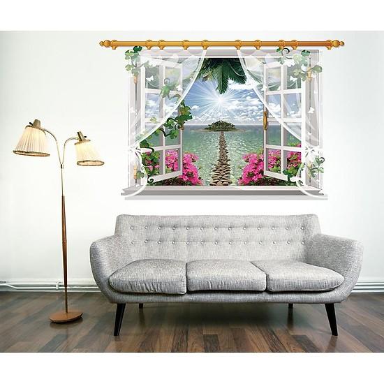 Decal dán tường nguyên miếng cửa sổ hoa đào có rèm SK9020F
