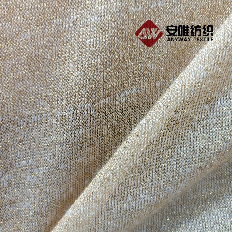 ANWEI Vải dệt kim 150g vải viscose nam và vải lụa bạc một mặt vải dệt kim vàng và bạc dày vải kim áo