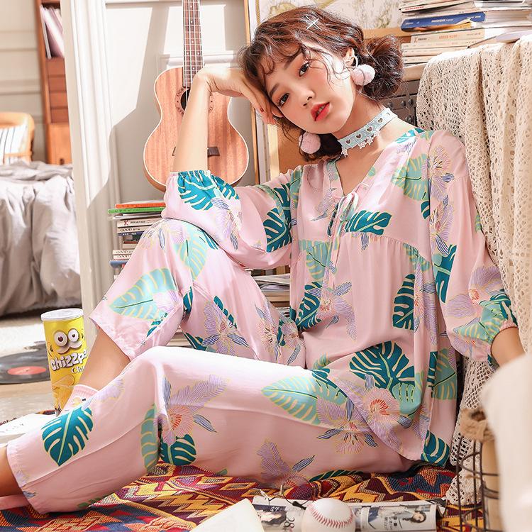 Đồ ngủ Bộ đồ ngủ sáng tạo mùa xuân và mùa hè Bộ đồ ngủ tay dài 9 điểm đặt lụa nhân tạo phiên bản Hàn