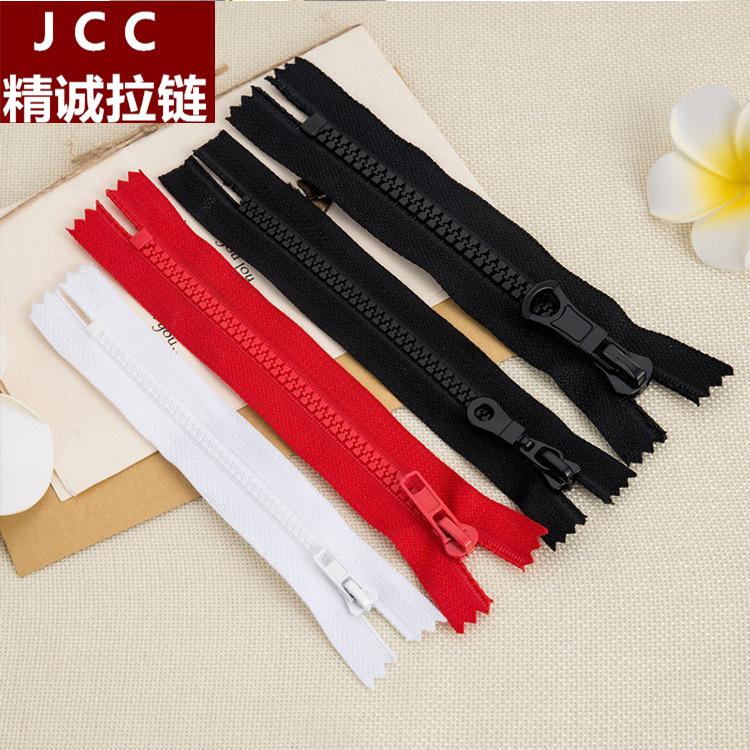 JCC Dây kéo nhựa Số 3, số 5, số 8 nhựa nhựa răng kín đuôi tự động bỏ túi xuống áo khoác túi quần áo
