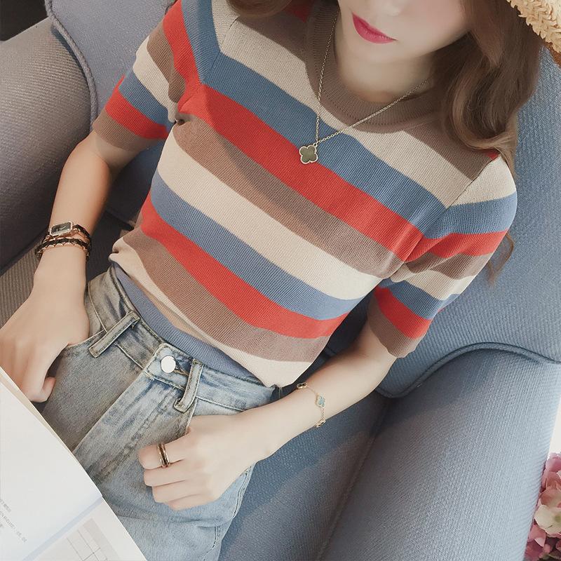 Áo thun Mùa hè mới Han Fan hoang dã sọc màu băng lụa áo thun nữ tay ngắn cổ tròn Áo len mỏng