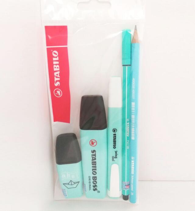 Bút dạ quang Combo 3 Bút Dạ Quang STABILO Pastel (Xanh Trời Phấn) + Bút Lông STABILO Pen68 PN68-13 +