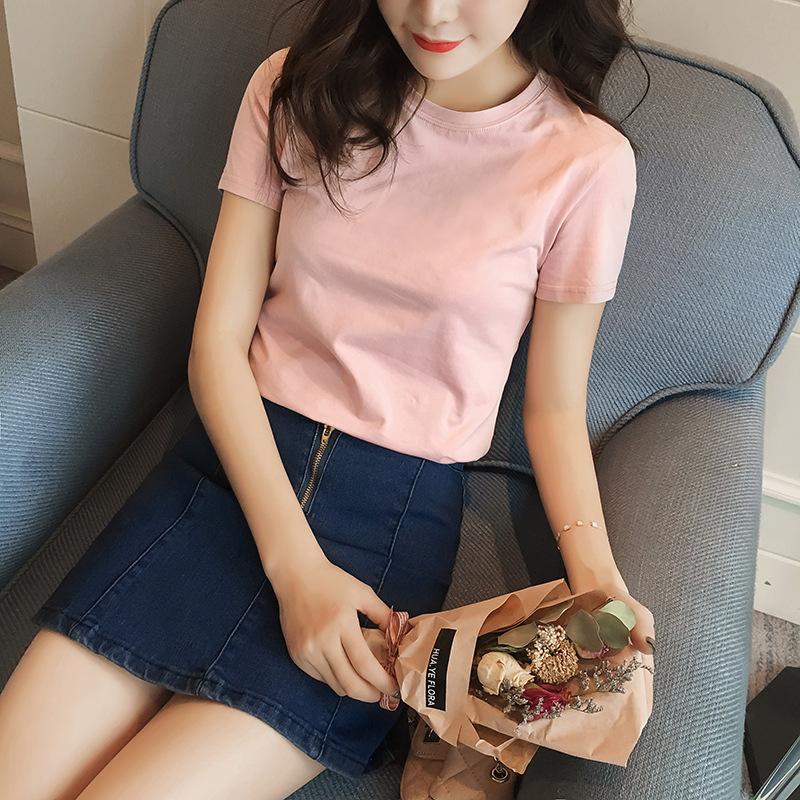 Áo thun cotton nữ 2019 phiên bản Hàn Quốc mới của mùa hè mới đầm màu rắn đáy quần học sinh bên trong