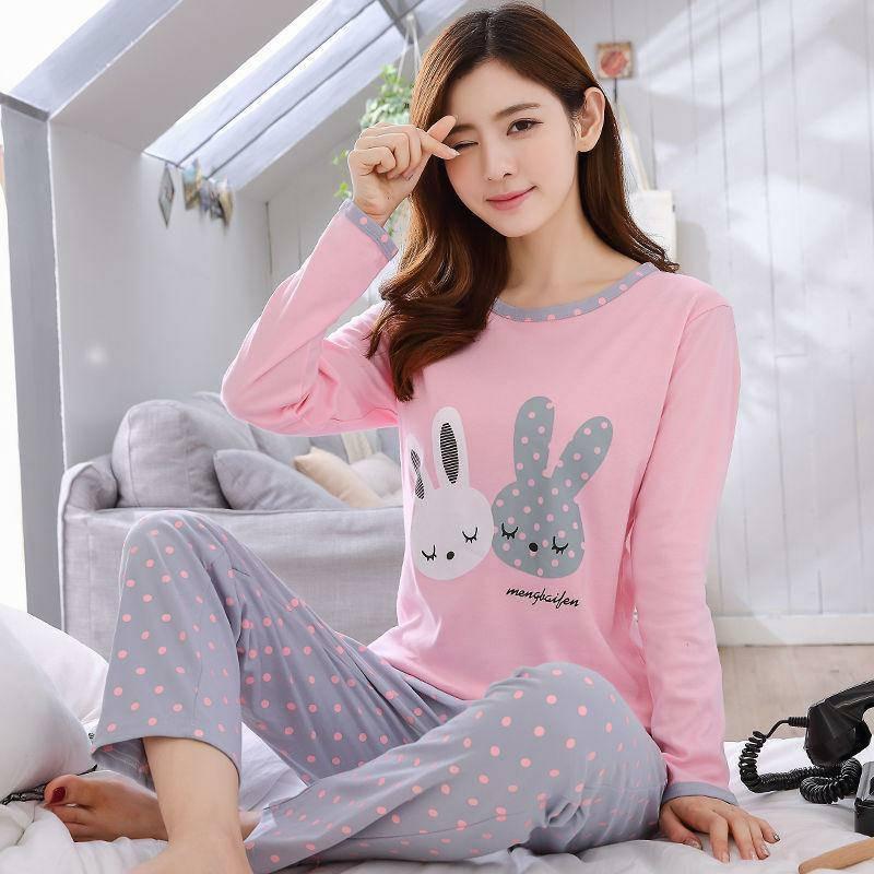 Đồ ngủ nữ dài tay mùa xuân và mùa thu đông dịch vụ tại nhà phiên bản Hàn Quốc giản dị của bộ đồ hoạt