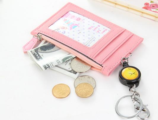 Ví đựng thẻ     Vỏ não sáng tạo nhiều nam nữ túi thẻ thẻ bộ thẻ clip kéo dài đưa dây kéo Zero bóp đư