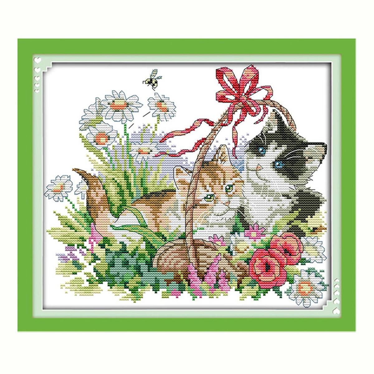 Bộ Tranh Thêu Chữ Thập Hình Mèo Dễ Thương