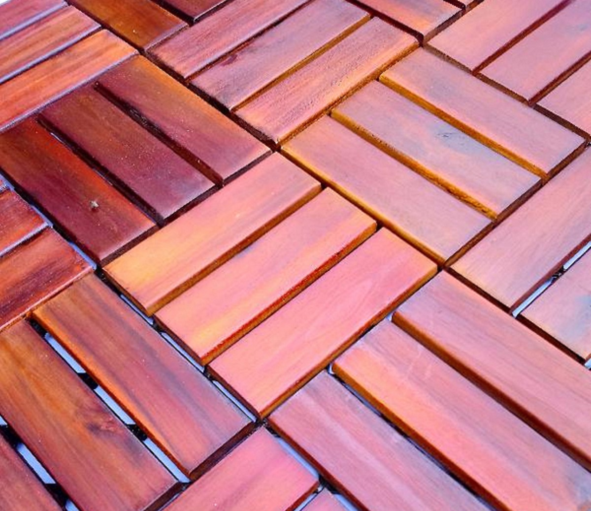 Tấm ván gỗ lót sàn 12 nan- nâu đỏ
