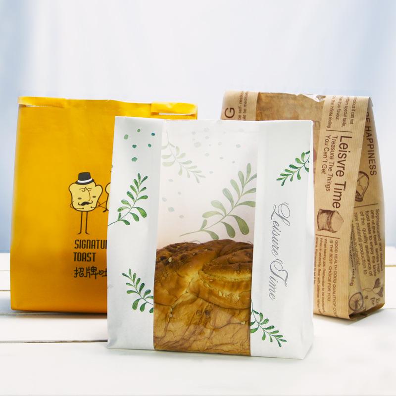 YOUXIN NLSX bao bì Bao bì nướng 450g bánh mì nướng bánh mì bao bì giấy kraft cửa sổ thực phẩm bao bì