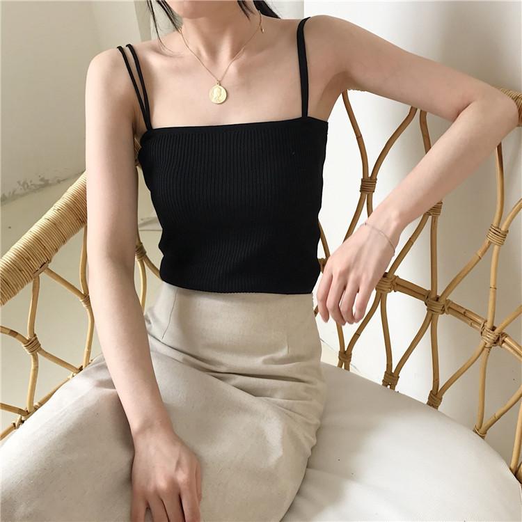 LittleMoon Dây treo trang phục Áo len dệt kim nữ dây đeo vai ngang vai 2019 áo vest mới bên trong áo