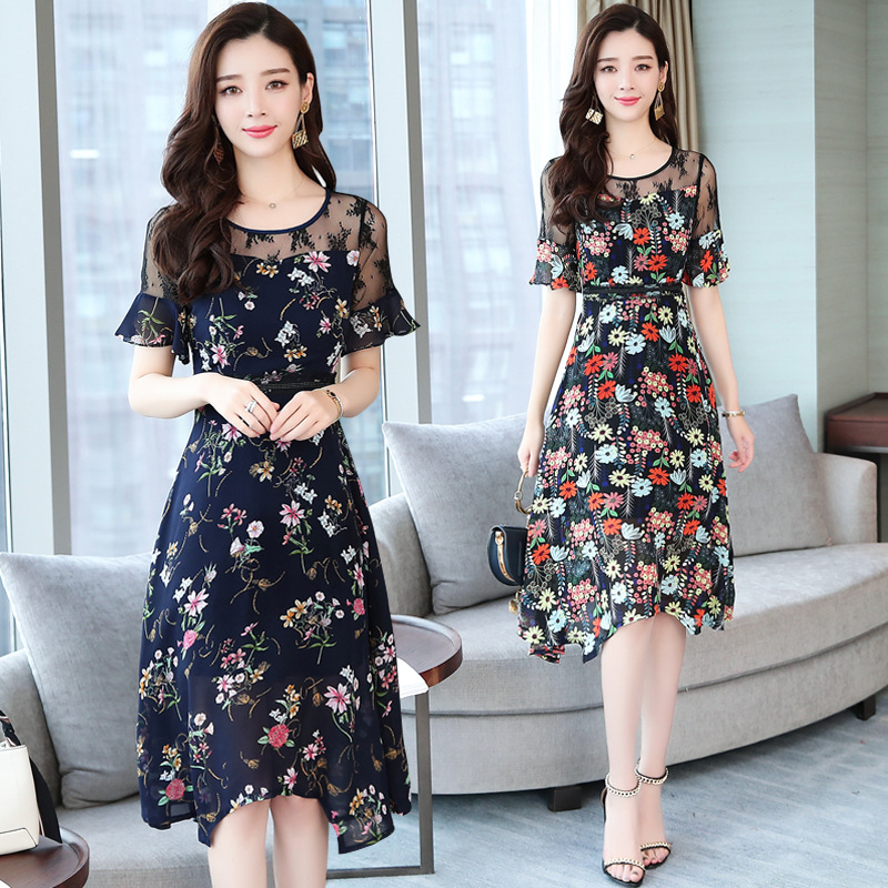 Váy 2019 Váy hoa Nữ mùa hè Mới Sợi tay áo Tay áo dài Phần che bụng Lão hóa Thịt Tây Tạng Váy voan