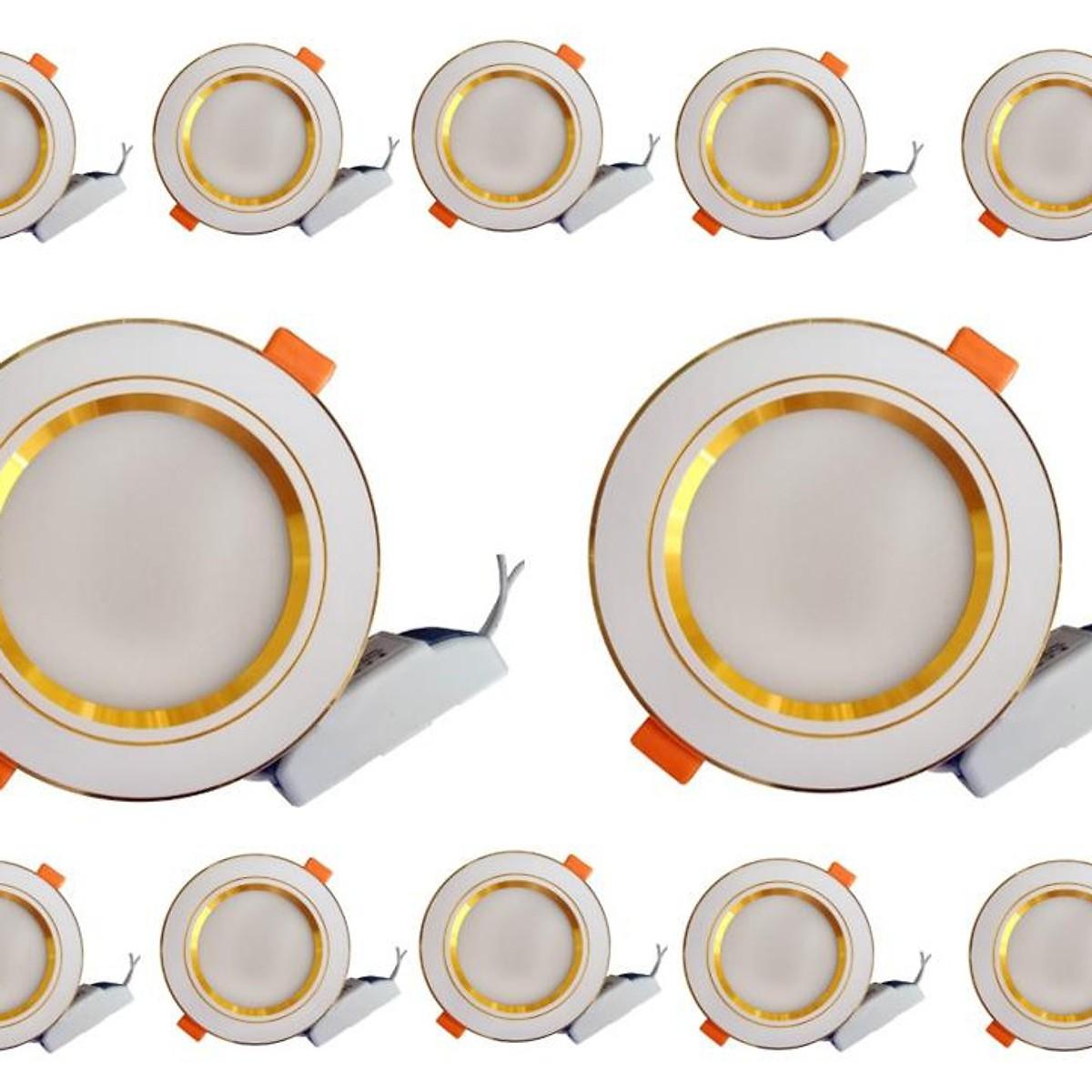Bộ combo 10 bóng đèn âm trần 9w, viền vàng, 3 chế độ sáng, lỗ khoét 110