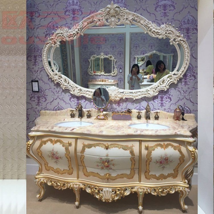 Tủ kết hợp bàn chậu rửa cho phòng tắm bằng gỗ sồi rắn cao cấp .
