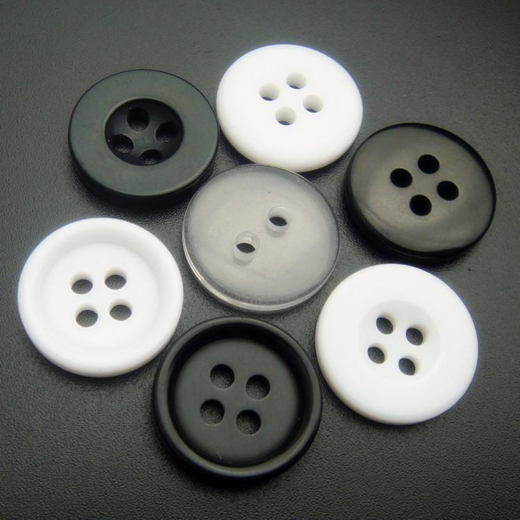 HONGXIN Nút Nhà máy sản xuất trực tiếp nút áo nhựa hai mắt bốn mắt nút bánh mì trắng đen trong suốt