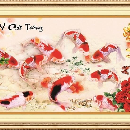 Tranh thêu chữ thập cá Như Ý Cát tường 3D AIluo AL53498 [Chưa thêu]