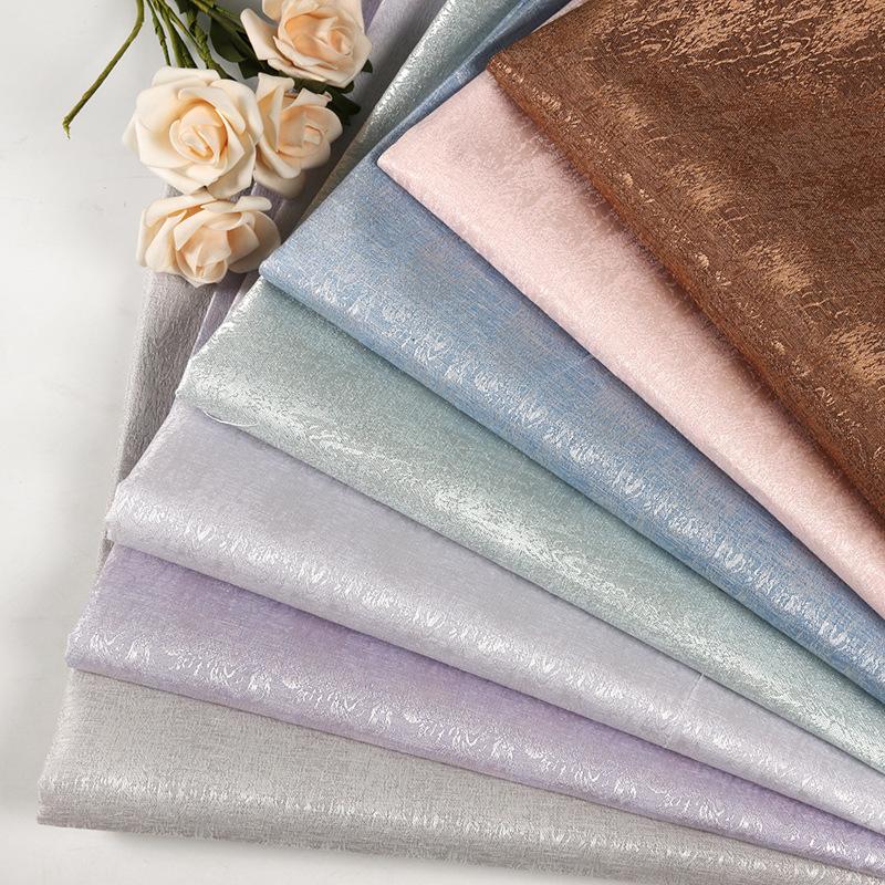 JUNFA Vật liệu tổng hợp Vải lụa tổng hợp màu hồng tươi sáng Khăn trải bàn vải dệt thoi Trang chủ vải