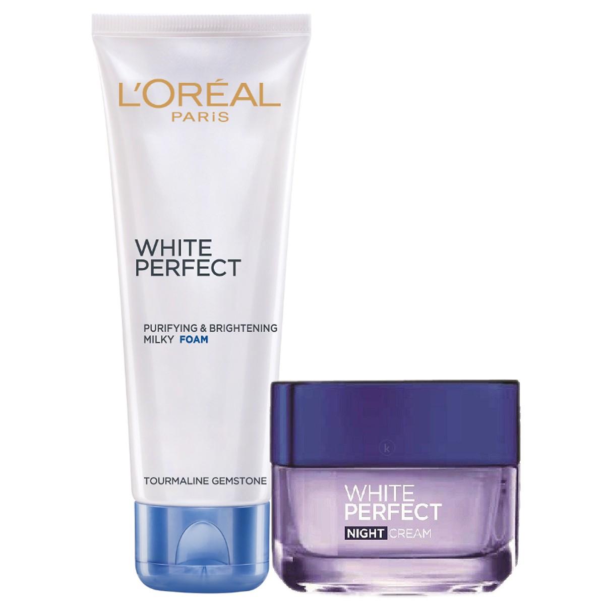Kem Dưỡng Đêm Và Sửa Rửa Mặt White Perfect Dewy L'oreal 50ml