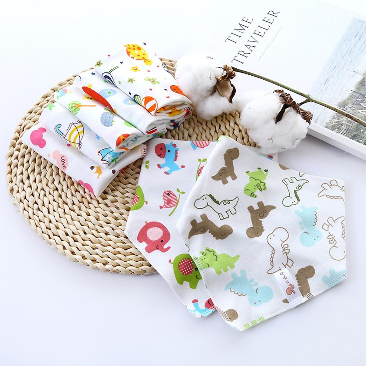Khăn Tam Giác, Khăn Quàng Cổ, Khăn Yếm Cotton Cao Cấp -Tặng Khẩu Trang (Set 5 khăn)