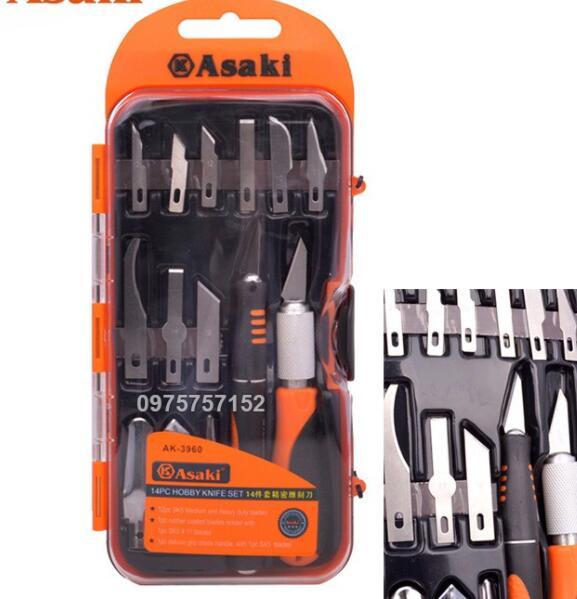 dao điêu khắc, chạm, trổ, tách, ghép cao cấp 14 chi tiết Asaki AK-3960
