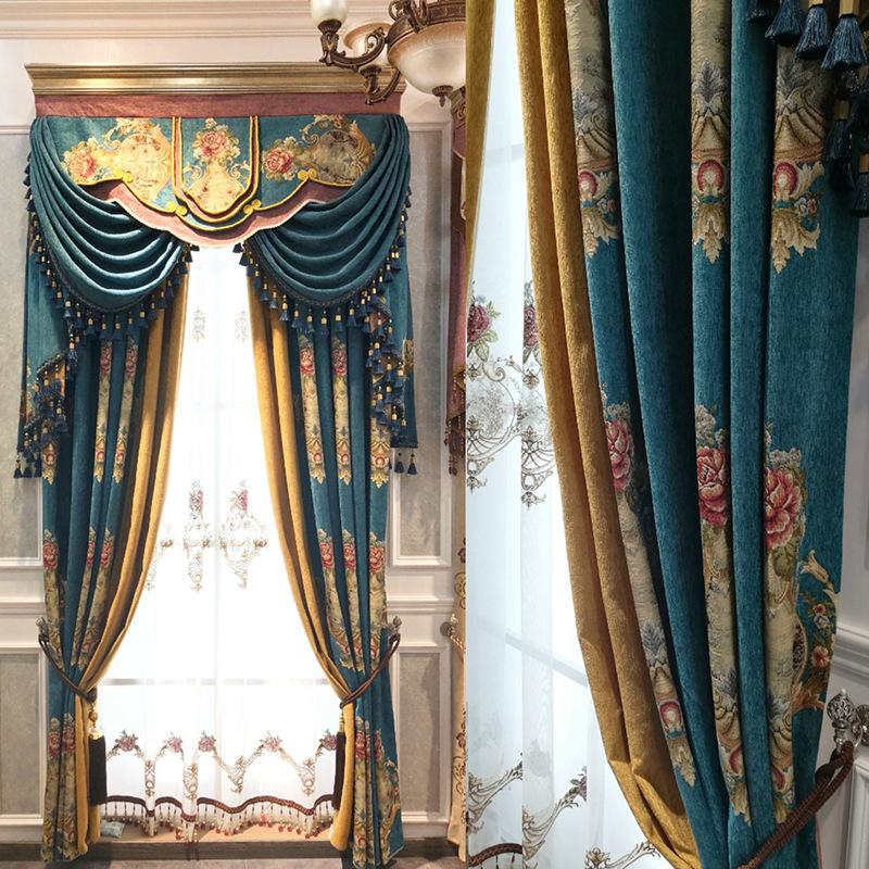 HONGYUN Vải rèm cửa Nhà máy trực tiếp chenille thêu rèm phòng khách châu Âu bầu không khí sang trọng