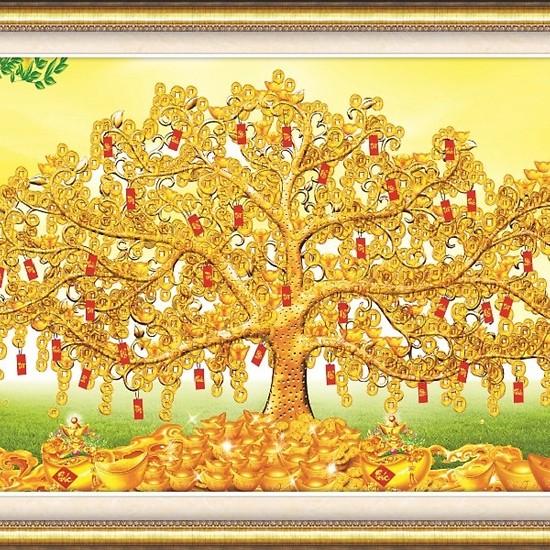 Tranh thêu chữ thập Cây Tiền Vô Như Nước 3D Ailuo AL53530 [Chưa thêu]