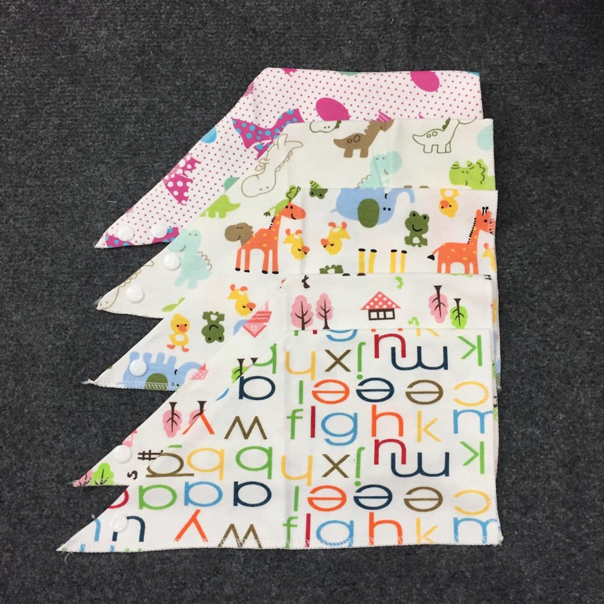 Combo 5 khăn yếm tam giác cho bé gái - Màu ngẫu nhiên