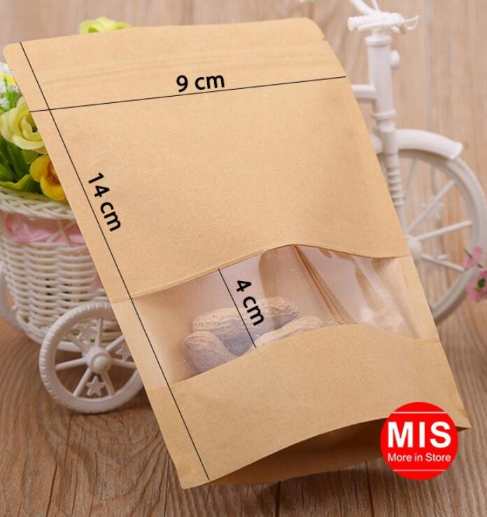 Túi giấy 100 Cái 9*14+3cm Túi Giấy Kraft Có Cửa Sổ Kiếng Miệng Zip Chuyên Đựng Thực Phẩm Chất Lượng