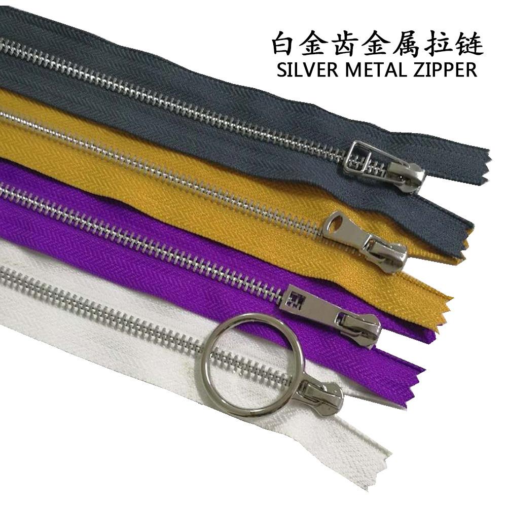 TIANMA Dây kéo kim loại Cung cấp quần áo phụ kiện kim loại Bạch kim Số 3 dây kéo Tự khóa đuôi mở số