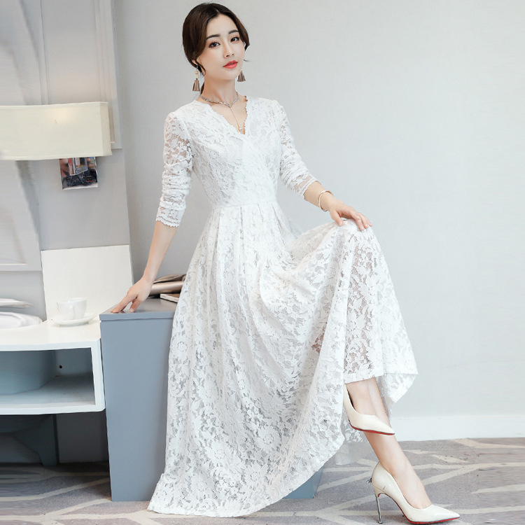 AIHUIMAN Đầm 2017 mùa thu mới phiên bản Hàn Quốc của đầm ren cổ chữ V nữ dài tay Slim mỏng màu rắn h