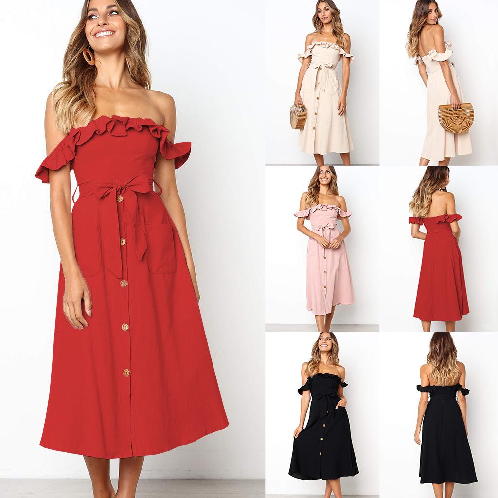YASHANGYI Đầm 2019 mới từ châu Âu và Mỹ cổ áo đơn màu ngực rắn