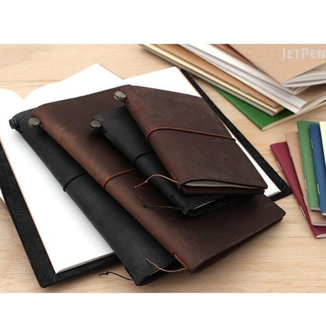 Sổ Tay Bìa Da Midori's Traveler Notebook Cỡ Tiêu Chuẩn A5 22×14cm 3 Lõi siêu đẹp (Tặng Kèm 1 Lõi Giấ