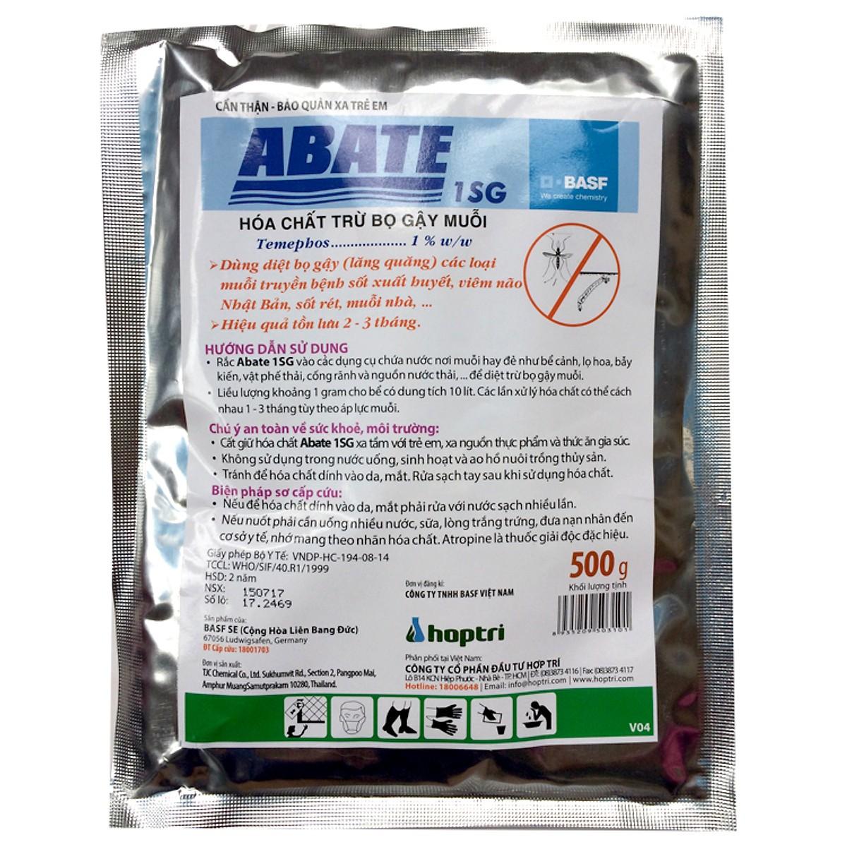 Thuốc diệt bọ gậy diệt lăng quăng Abate 1SG Gói 500g Phòng trừ muỗi sốt xuất huyết, muỗi Zika
