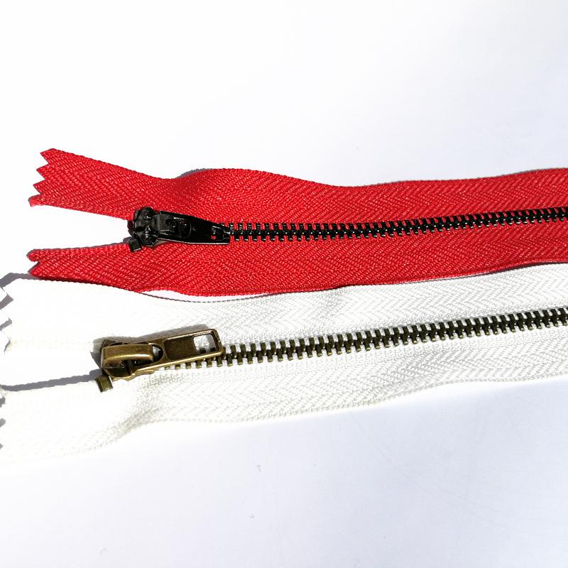SL Dây kéo kim loại Quần áo áo khoác denim có đuôi mở 5 dây kéo kim loại màu bạc sáng vàng ánh sáng