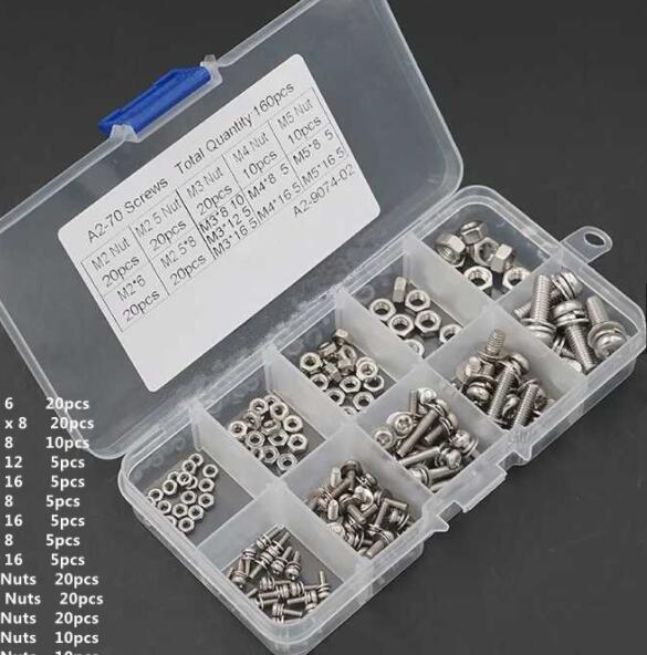 Ốc vít BỘ 320 bù lông ốc vít các loại inox 304