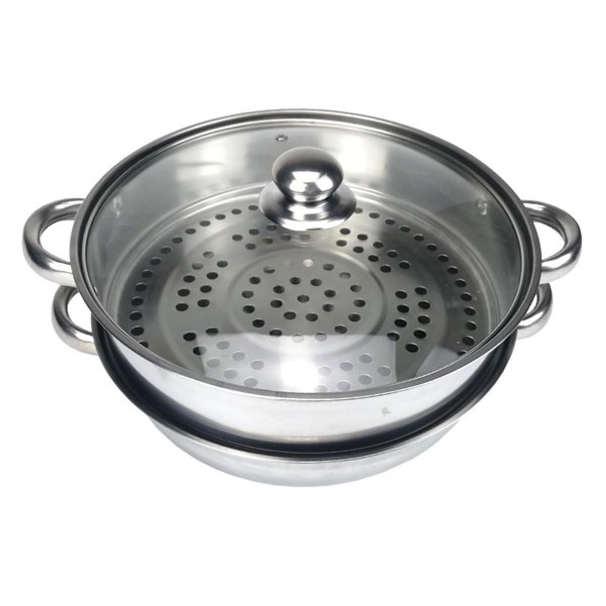 Nồi vừa hấp, vừa lẩu dùng cho bếp ga, bếp từ bằng inox 304 GS0091