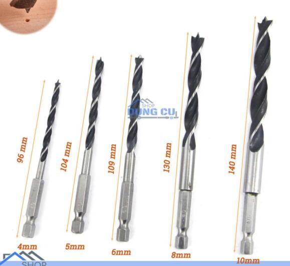 Đầu khoan Bộ 5 mũi khoan gỗ đầu đinh 4-10mm thép carbon chuôi lục giác