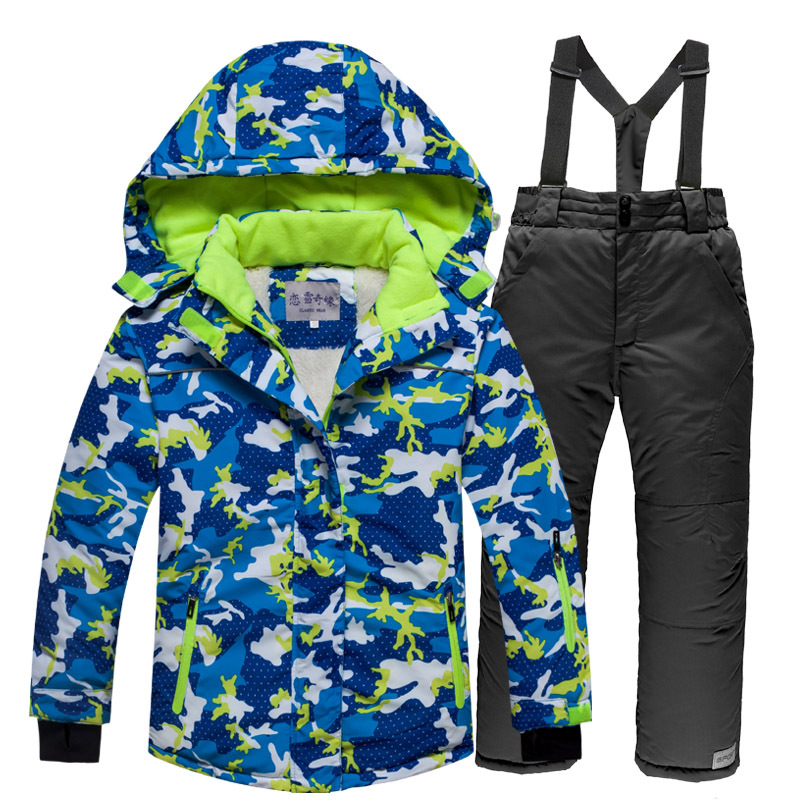 ARCTIC QUEEN Quần áo leo núi Bộ đồ trượt tuyết cho trẻ em Bộ đồ dày bé trai và bé gái Áo chống thấm