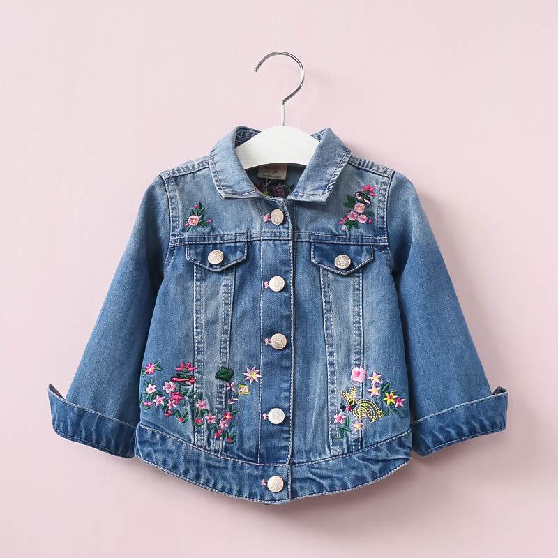 Áo khoác trẻ em Mùa xuân và mùa thu mới quần áo trẻ em gái áo cao bồi cát mềm giặt thêu hoa áo trẻ e