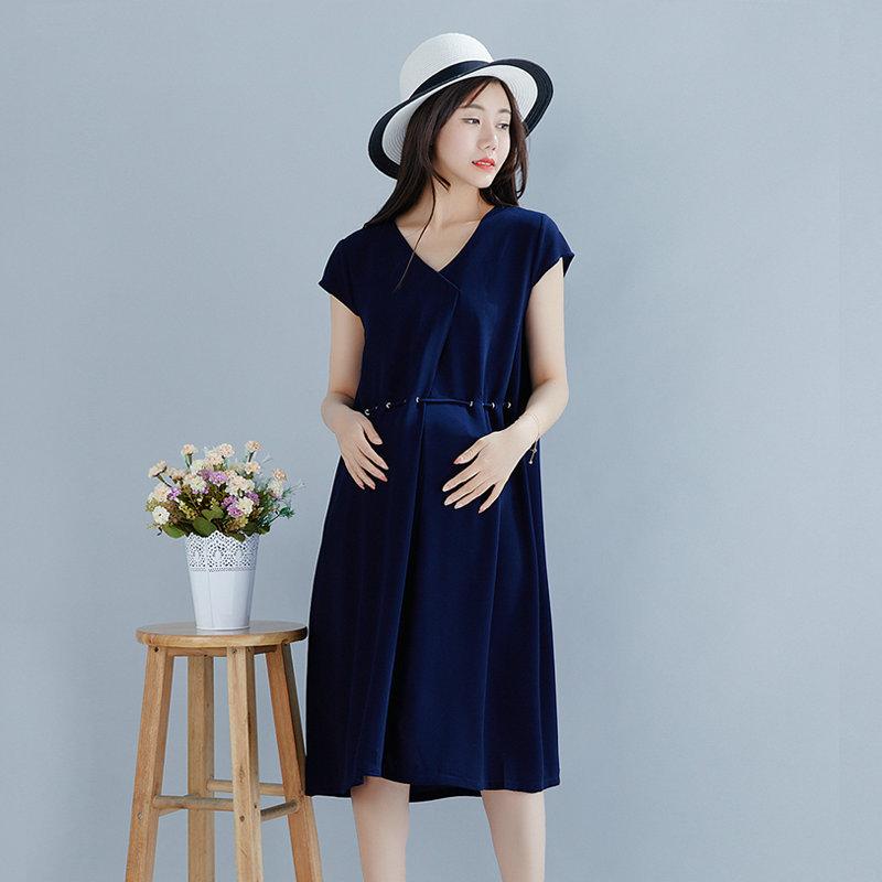 HUAMINI Trang phục bầu Váy bà bầu mùa hè 2019 mới thời trang Hàn Quốc phiên bản áo bà bầu rộng kích