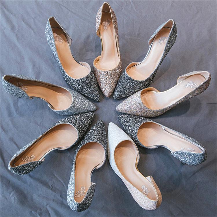 BAIBAIBA Giày cô dâu Daifa 2019 xuân hè mới đẹp với giày mũi nhọn nông miệng đính sequin sáng bóng g