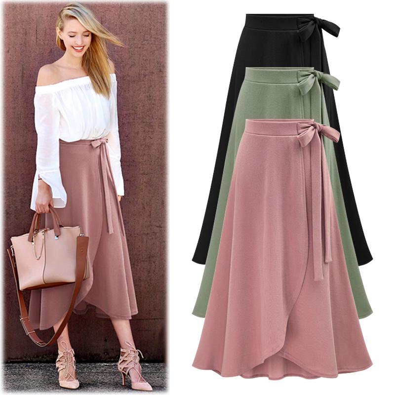 OUMOWEI Váy nữ mùa thu mới eo cao không đều váy xẻ váy châu Âu và Hoa Kỳ kích thước lớn dây dài váy