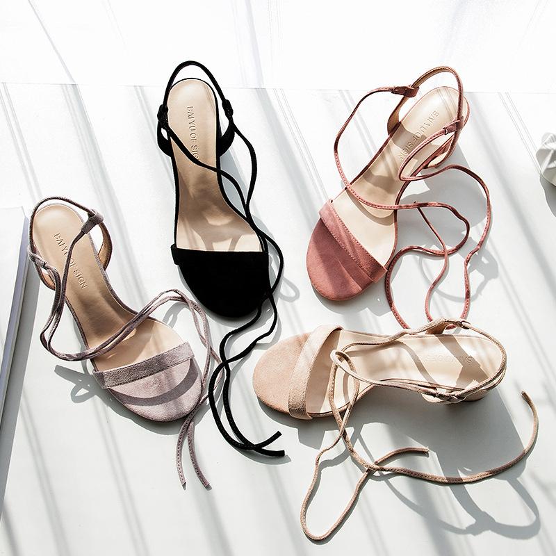 FUHAO thắt dây Fu number Dây đeo Roman 2019 giày nữ mùa hè mới cao gót hở mũi dép nữ dép