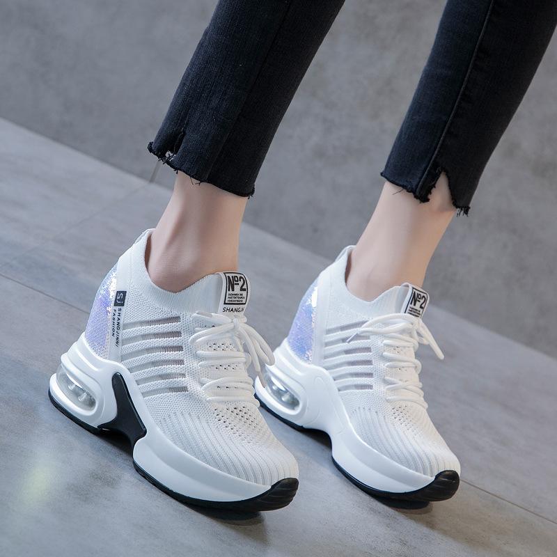BRYX Giày tăng chiều cao 2019 mùa hè mới giày cũ nữ mùa hè thoáng khí giày lưới thường hoang dã dày