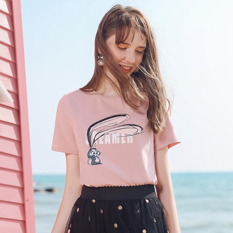 KANFEI Thời trang nữ Mùa hè 2019 thương hiệu mới của phụ nữ cơ bản in phim hoạt hình lỏng lẻo cổ trò