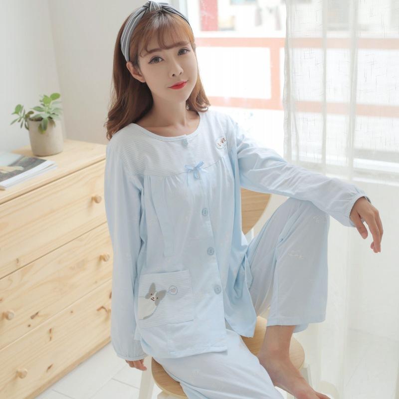 ZQFC Trang phục trong tháng (sau sinh) Phiên bản mới của Hàn Quốc về quần áo cotton tại nhà sau sinh